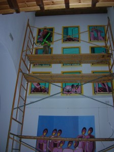 Preparativos Vive-Arte´09 en Galería Sala-Taller María Nieves Martín